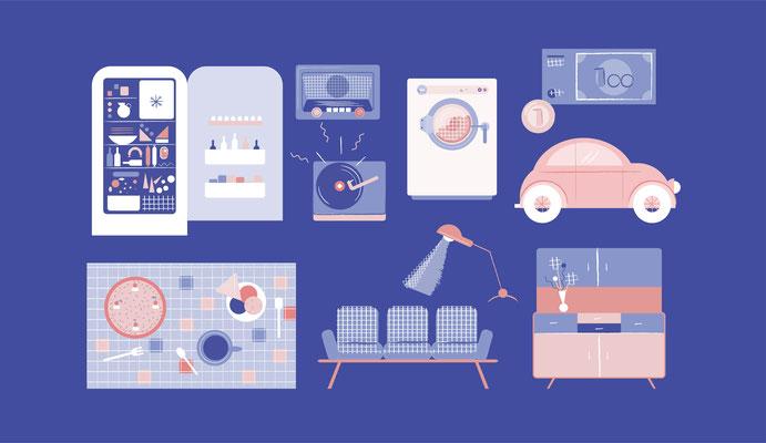 Das Deutsche Wirtschaftswunder – Illustrationen für Erklärvideo, © Studio Käfig
