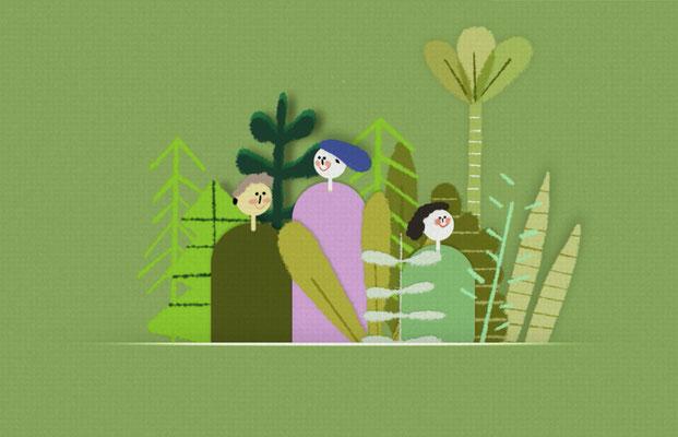 "Illustration für Erklärvideo ""Hamburgs Grün in Zahlen"", © Studio Käfig"