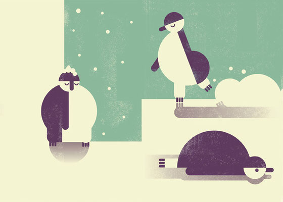 Weihnachtskarte, Illustration Pinguine, ©Verena Muckel Studio Käfig