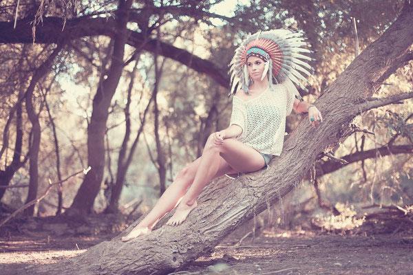 Fotoshooting, Ideen, Fotograf, Portrait, Indianer-Kopfschmuck