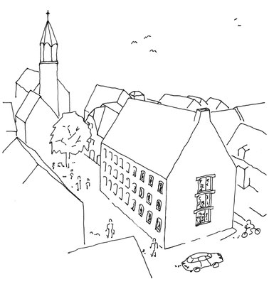 Skizze Rathausergänzungsgebäude Pfullingen