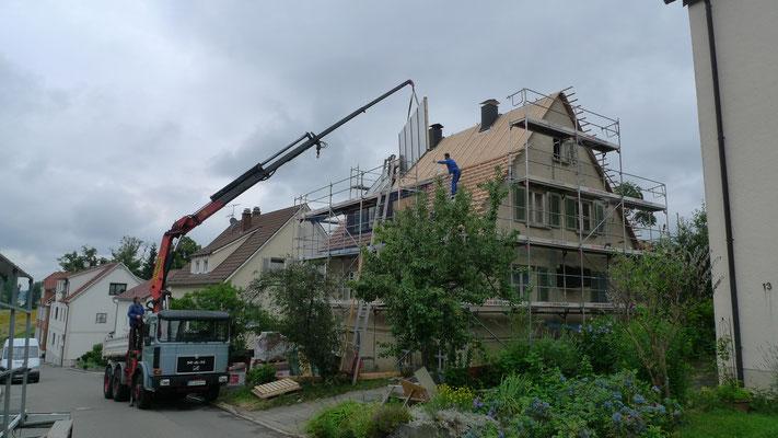 BERG energetische Sanierung, Montage der Solaranlage