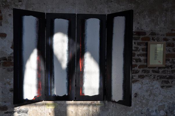 """Offenbarung II: Verbranntes Land - beseelte Bäume (Polyptychon - innen - zum Text """"GedankenWelt"""") 2009 /Acryl auf Leinwand / 120 x 40 cm / 4 x"""