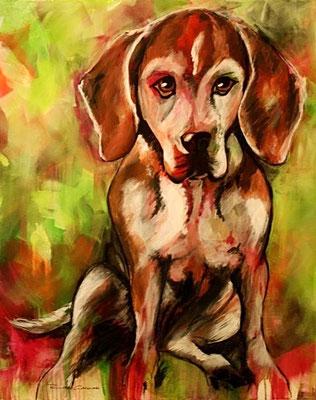 Beagle-Schönheit  80x100 Acryl auf Leinwand