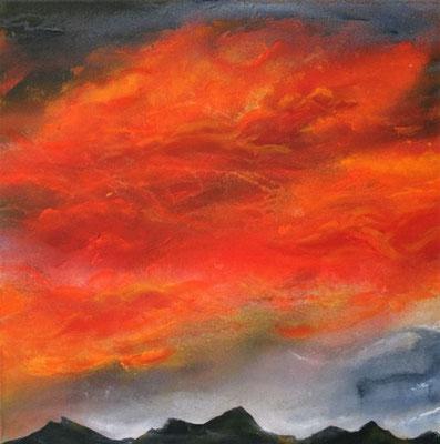 Abend Feuer    50x50x4       Leinwand