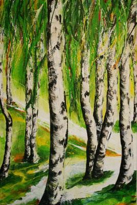 Frühling im Birkenwald     80x120       Leinwand