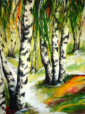 Birken im Wald     90x120    Leinwand