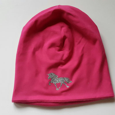 """Jerseymütze mit Fleecefütterung in Pink mit Motiv """"Einhorn"""" in Silbe-Multicolor  Glitzer"""