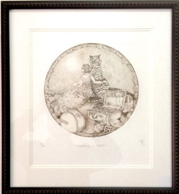 Moon Bathing and Shadow #32/100 | Etching | 460x510mm framed