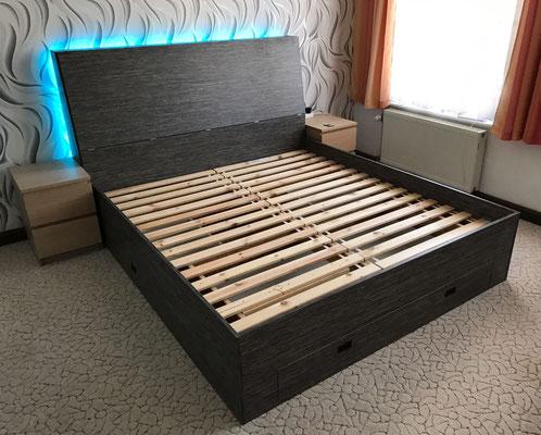 Holzbett Bett Bettgestell LED