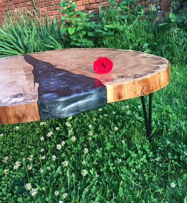 VisionCraft Tisch Epoxydharz Buche Baumscheibe Drahtfüße schwarz silber