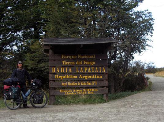 Bahia Lapataia, Ende der Straße