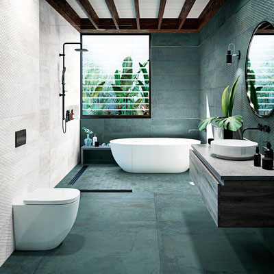 Floor Aparici Metallic green, Wall Metallic green plate + Metallic white plate
