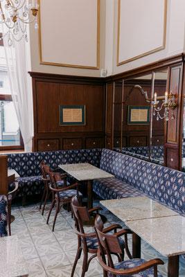 Projekt: Cafe Mozart, Albertinaplatz, 1010 Wien, Design: Hoche Popovic Architekten, Fliesen: Aparici Retro