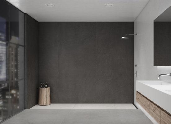 Wall Apavisa Equinox anthracite natural, Floor Apavisa Equinox white natural