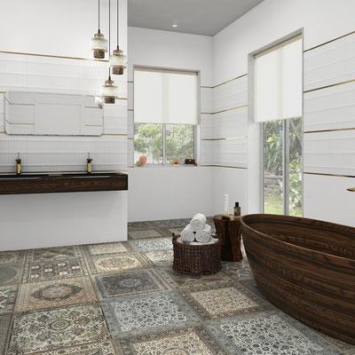 Floor Aparici Kilim nain natural, Wall Markham white + Markham white teide