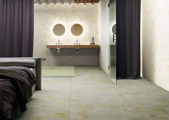 Floor Apavisa Mood green natural, Wall Mood ivory natural