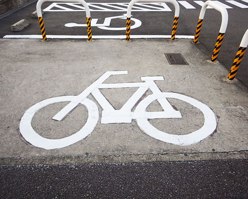 駐車場ラインの施工事例(自転車用)