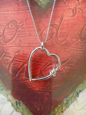 Herz 925 Silber rhodiniert, Größe 2,5cm x 2,5cm