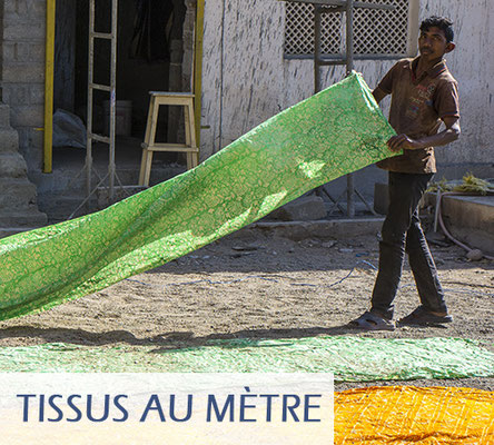 Tissu indien au mètre, tissu artisanal, imprimé au bloc de bois, avec des couleurs naturelles ou de synthèse.