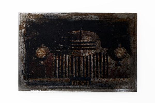 Foto auf Rost, us Car, Oldtimer Foto auf Metall, Bild auf Metall, Fotokunst, E121/1