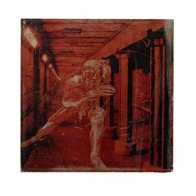 Foto auf Rost, Motiv transparente Mann, Foto auf Metall, Fotokunst aufwendig angefertigte, verarbeitete Fotoarbeit, Fotografie, E146/1
