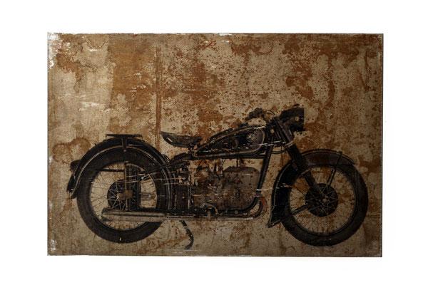 Foto auf Rost, BMW, Motorrad, Oldtimer, Foto auf Metall, Bild auf Metall, Fotokunst, E123/1