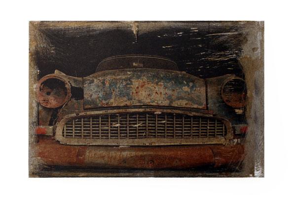 Foto auf Rost, us Car, Oldtimer Foto auf Metall, Bild auf Metall, Fotokunst, E131/1
