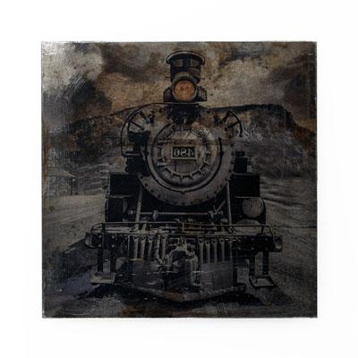Foto auf Rost, Lok, Eisenbahn, Foto auf Metall, Bild auf Metall, Fotokunst, Fotoarbeit, E119/1