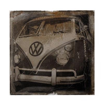 Foto auf Rost, VW Bully, Foto auf Metall, Fotokunst aufwendig angefertigte, verarbeitete Fotoarbeit, Fotografie, E133/1
