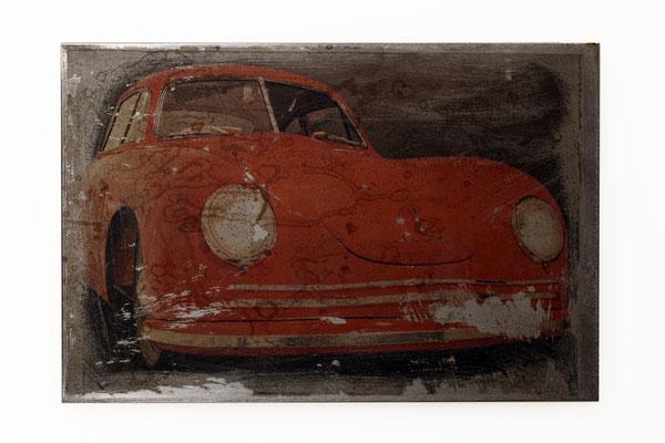 Foto auf Rost, Porsche, Oldtimer Foto auf Metall, Bild auf Metall, Fotokunst, E127/1