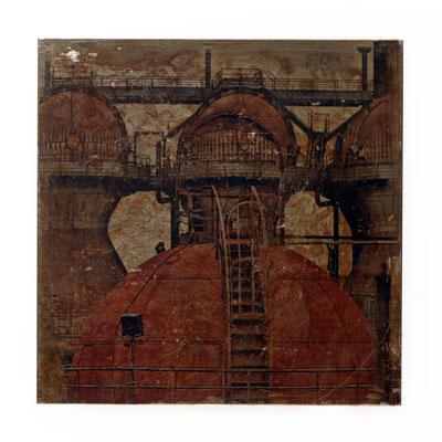 Foto auf Rost, Motiv Industrie, Foto auf Metall, Fotokunst aufwendig angefertigte, verarbeitete Fotoarbeit, Fotografie, E142/1