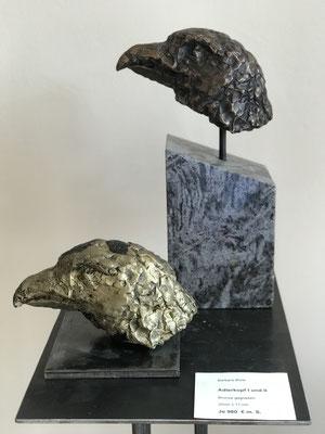 Adlerkopf I und II (2017), Bronze gegossen, 22 cm x 11 cm