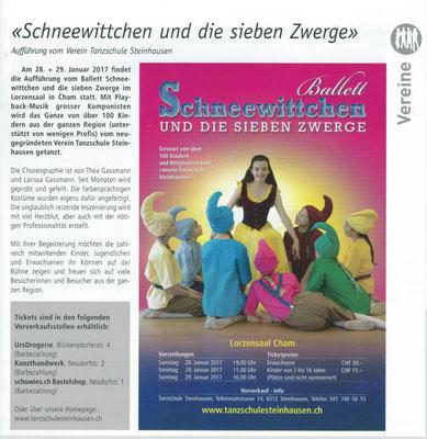 Tanzschule Steinhausen Zug, Vorankündigung Ballett Schneewittchen und die sieben Zwerge, Aspekte
