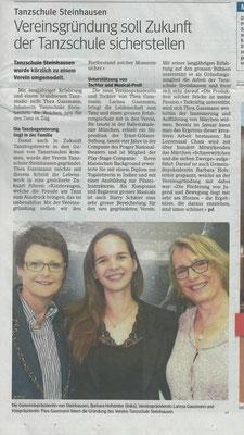 Tanzschule Steinhausen Zug, Vereinsgründung, Zuger Presse