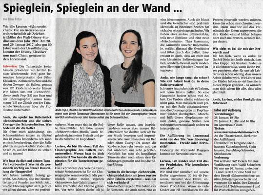 Tanzschule Steinhausen Zug, Spieglein, Spieglein an der Wand... Zuger Woche