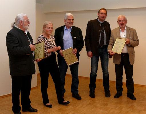 Die Geehrten: Hermann Stadlober, Josef Ourednik und Heinz Eichler