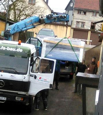 500 kg ! Laminator wird von Brotterode nach Bad Liebenstein gebracht