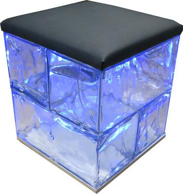 GEO Hocker 4 mit Sitzauflage Leder schwarz und blauer LED Beleuchtung by GEOtec