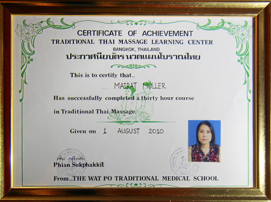 Tradional Thai Massage Learning Center, Bangkok. Zertifikat Traditional Thai Massage