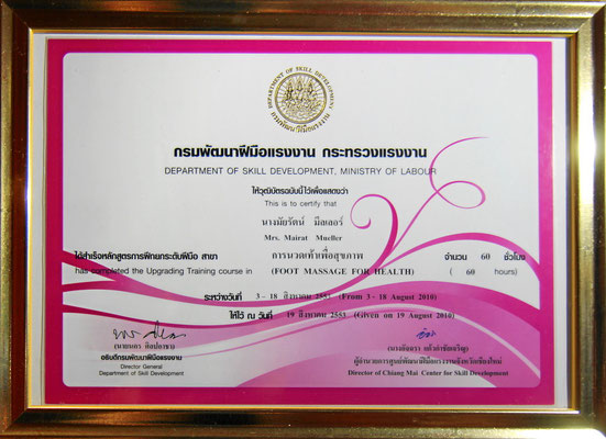 Departement of Skill Development, Thailand. Zertifikat Fussmassage