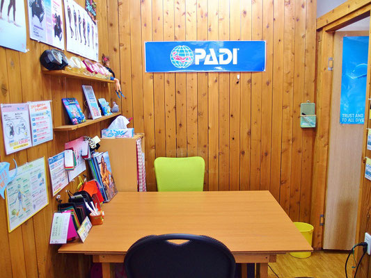 講習室です。ダイビングの勉強はここで行います。