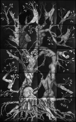 Composition de 20 tableaux au Fusain, 3m25 x 2m, VENDU