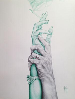 Crayon et Stylo, 65 x 50cm