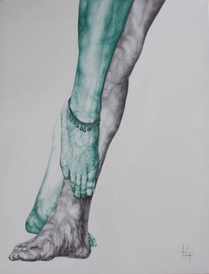 Stylo à bille, toile, 70 x 90 cm