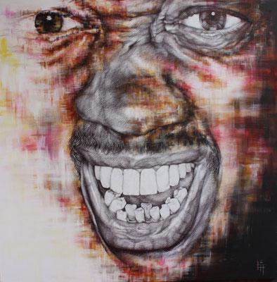 Peinture à l'eau et stylo, toile, 1m x 1m
