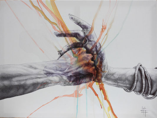 Crayon, Stylo et pigments, 70 x 90cm