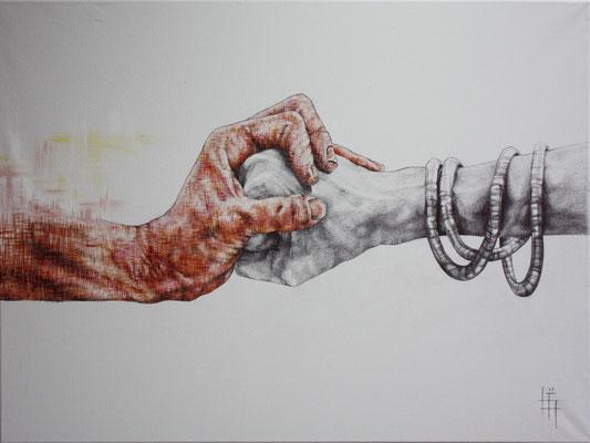 Peinture à l'eau, Stylo, 70 x 90cm
