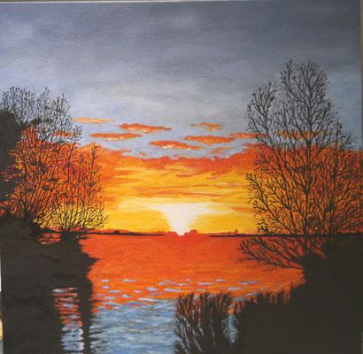 Zonsondergang  aan de Braassem , Yvon Bruurmij