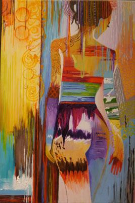 kleurrijke dame , Agnes de Vries